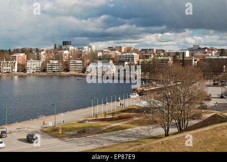 The Finnish city of Lappeenranta  on the shore of lake Saimaa on a cloudy spring day. - Stock Photo