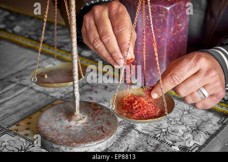 Dried saffron in a herbalist shop when weighing. Atlas Mountains region. Morocco - Stock Photo