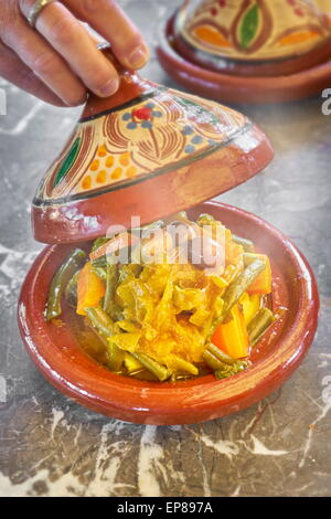 Traditional moroccan dish - tajine. Morocco - Stock Photo