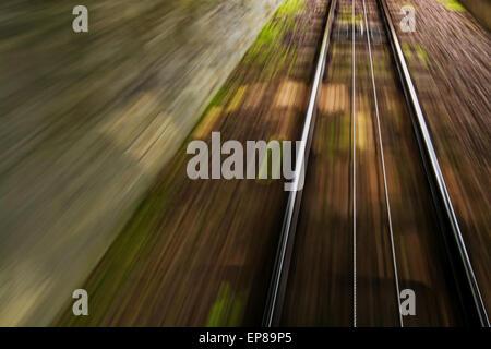 May 2015, rail track in Zurich (Switzerland), motion blur - Stock Photo