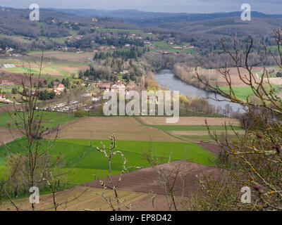 Lot River and Countryside around Domme. The view from the village of Domme, high above the Lot river. - Stock Photo