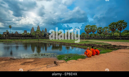Sunset over Angkor Wat - Stock Photo