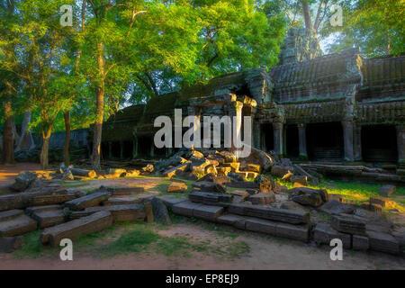 Sunrise over Ta Phrom - Stock Photo