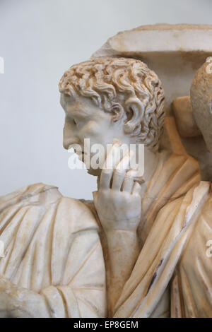 A lenos sarcophagus with processus consularis. Roman. 270 AD. National Roman Museum. Palace Massimo. Rome. Italy. - Stock Photo