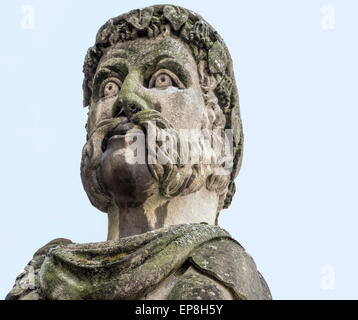 Bust of a classical philosopher at the Sheldonian Theatre, designed by Christopher Wren, in Oxford, England, United - Stock Photo
