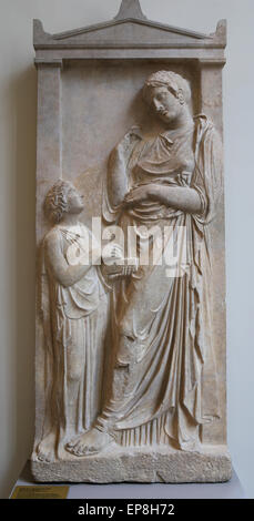 Marbel grave stele of a young woman. Greek. Attic, ca. 400-390 B.C. Metropolitan Museum of Art. Ny. USA. - Stock Photo