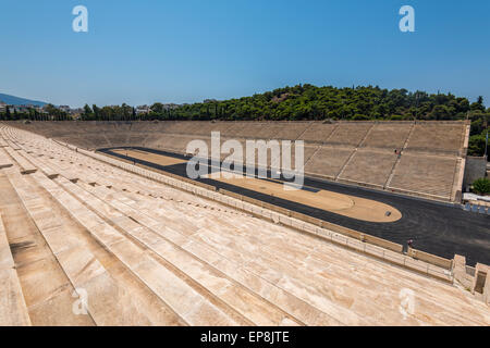 Panthenaic stadium in Athens also known as the Kallimármaro where the first modern Olympic games were held in 1896 - Stock Photo