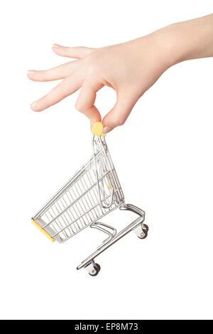 Female hand holding shopping cart - Stock Photo