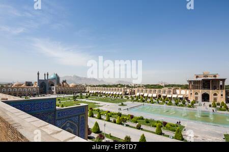 entrance portal of the Masjid-i Shah and Ali Qapu, Isfahan, Iran - Stock Photo