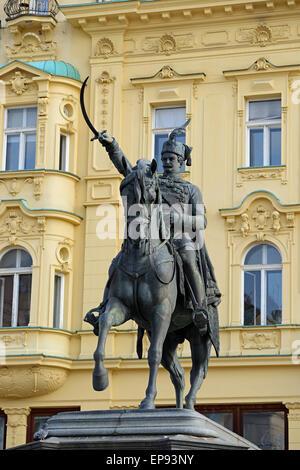 Statue of King Josip in the Main Square Ban Jelacic, Zagreb, Croatia. - Stock Photo