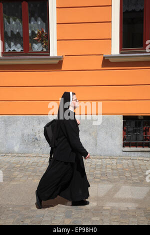 Nun at Cathedral Island, Wroclaw, Silesia, Poland, Europe - Stock Photo