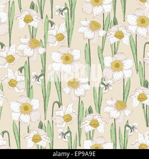 Seamless pattern with spring flowers. Narcissus. Summer floral background. Texture with flowering plants in doodle - Stock Photo