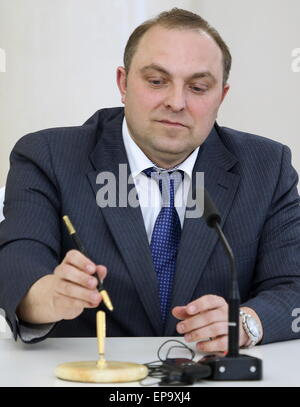 Moscow, Russia. 14th May, 2015. Moscow Metro head Dmitry Pegov looks on during the signing of a cooperation agreement - Stock Photo