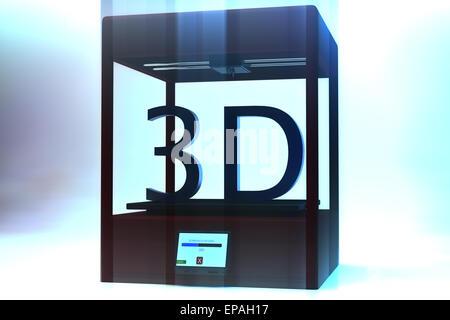 3D Printer Machine Three Dimensional Printing Technology - Stock Photo