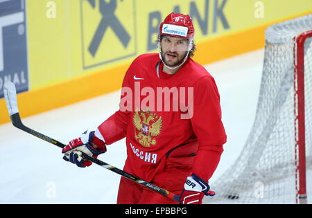 Prague, Czech Republic. 15th May, 2015. Forward Alexander Ovechkin practices during a training session of the Russian - Stock Photo
