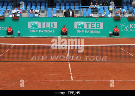 ISTANBUL, TURKEY - MAY 02, 2015: ATP World Tour Tennis net during TEB BNP Paribas Istanbul Open 2015 - Stock Photo