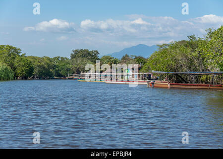 Dock area in La Avellanav  Guatemala for boats and ferry to Monterrico via the canal of Chiquimulilla through the - Stock Photo