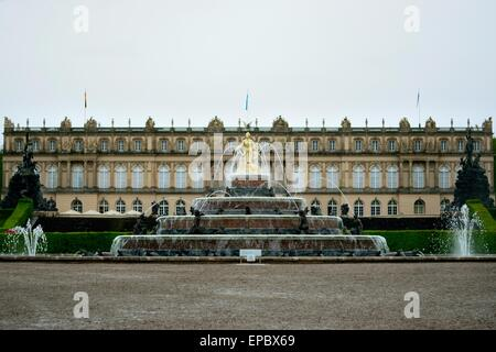 Herrenchiemsee Palace, Fountain of Latona, Palace gardens, Herreninsel island, Chiemgau, Bavaria, Germany - Stock Photo