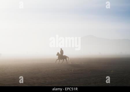 Man riding a horse in the Tengger Sand Sea, Bromo Tengger Semeru National Park, East Java, Indonesia - Stock Photo