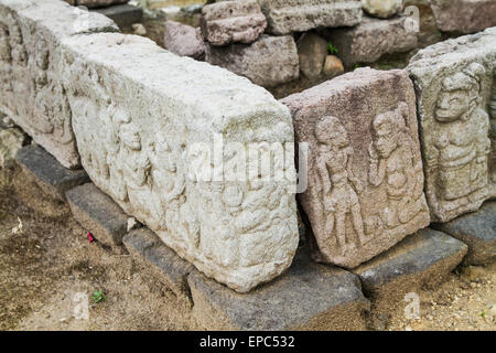 Bas-reliefs at Candi Cetho, a Javanese-Hindu temple located on the western slope of Mount Lawu, Central Java, Indonesia - Stock Photo