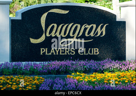 Sawgrass Players Club entry sign at TPC Sawgrass in Ponte Vedra Beach, Florida. USA. - Stock Photo
