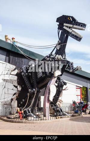 Giant Lego Tyrannosaurus Rex dinosaur at Legoland Windsor resort, London, England, United Kingdom. - Stock Photo