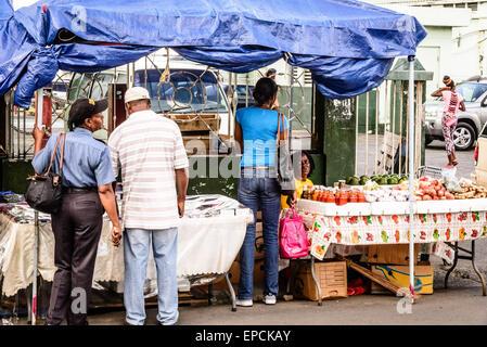 Trader Stall, Market Street, Saint John's, Antigua - Stock Photo