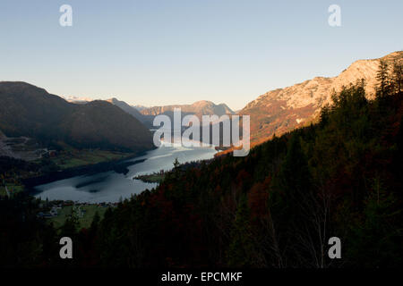 autumn sunrise over lake Grundlsee seen from above in Styria, Austria - Stock Photo