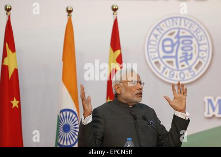 Shanghai, China. 16th May, 2015. Indian Prime Minister Narendra Modi speaks in Fudan University in Shanghai, China - Stock Photo