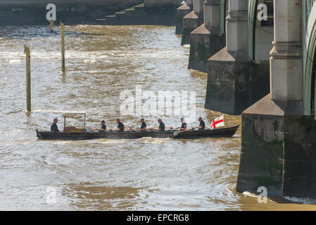 Westminster, London, UK. 16th May 2015. Each year Her Majesty's Royal Watermen complete a marathon row from Hampton - Stock Photo