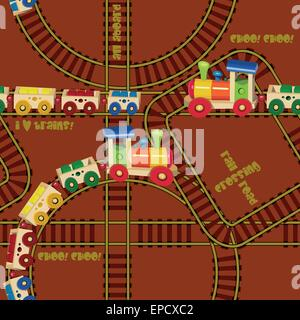 Seamless pattern with trains and railroad. Design for kids. Vector illustration in cartoon style. - Stock Photo