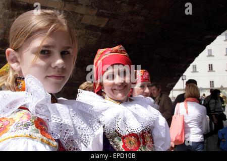 Headshot of women at the ride of Kings, dressed in traditional Moravian Costumes.  Twelve-year-old Frantisek Libosvar - Stock Photo