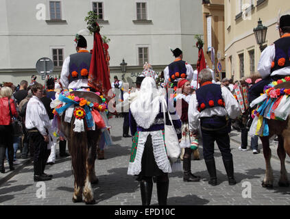 Part of the procession at the event Ride of Kings that takes place every year in Prague, where participant is dressed - Stock Photo