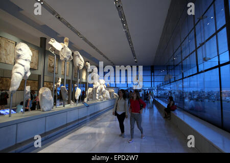 Athens, Greece. 16th May, 2015. Visitors take a night tour to the Acropolis Museum in Athens, Greece, May 16, 2015. - Stock Photo