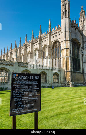 The front of King's College, including the famous chapel. King's is one of the colleges of Cambridge University. - Stock Photo