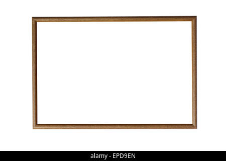 Blank wooden picture frame isolated on white with clipping path - Stock Photo