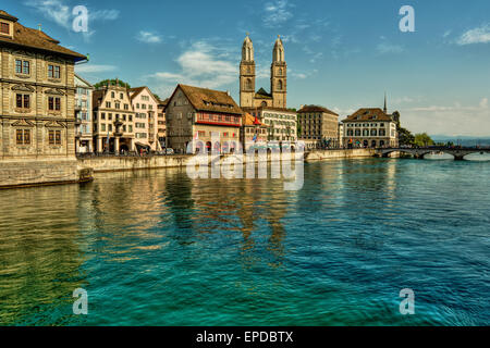 May 2015, river Limmat and the great minster in Zurich (Switzerland), HDR-technique - Stock Photo
