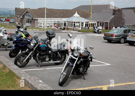 The Ponderosa café at the summit of the Horseshoe Pass near Llangollen, north Wales, much used by bikers - Stock Photo