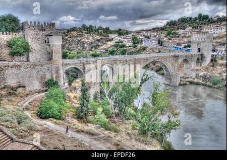 HDR image of Toledo city's bridge - Stock Photo
