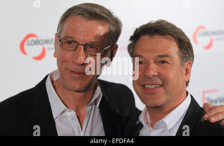 Magdeburg, Germany. 16th May, 2015. A picture made available on 17 May 2015 of singer Patrick Lindner (R) and partner - Stock Photo