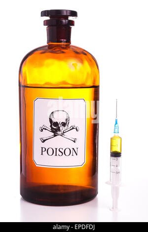 Poison bottle, vintage sign and isolated on white - Stock Photo