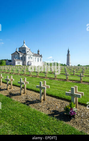 Notre Dame de Lorette Ablain Saint Nazaire, First World War, French National Military Cemetery on the Somme - Stock Photo