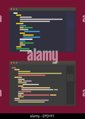 two color themes of developer code editor, flat design illustration - Stock Photo