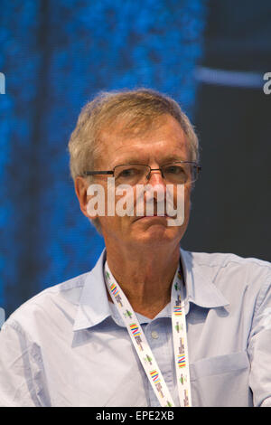 Turin, Italy, 17th May 2015. English travel writer Tony Wheeler is guest of Turin Book Fair. Wheeler is well known - Stock Photo