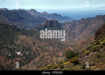 View from Roque Bentayga towards the mountains in the west of Gran Canaria, bottom left El Chorillo, Canary Islands, - Stock Photo
