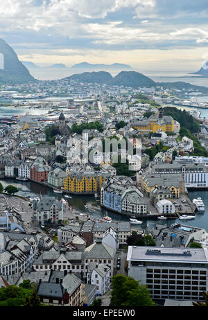 View from the Aksla hill to Alesund, Alesund, Møre og Romsdal, Norway - Stock Photo