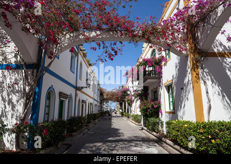Typical alleyway in Puerto de Mogan, Gran Canaria, Canary Islands, Spain - Stock Photo