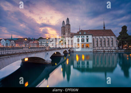 Zurich. Image of Zurich during dramatic sunrise. - Stock Photo