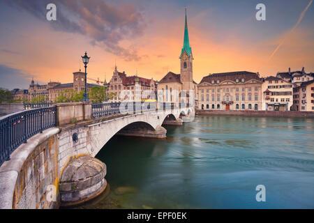 Zurich. Image of Zurich during dramatic sunrise. - Stock Photo