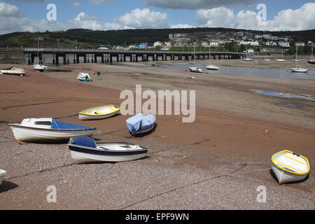 shaldon bridge to teignmouth over the river teign on the south devon coast - Stock Photo